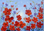 Red Flowers and Blue Sky painting for sale