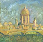Landscape with the Cathedral painting for sale