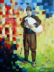 Folk Bagpiper painting for sale