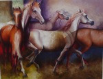 Caballos en  Morado painting for sale