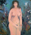 Nude (in Foliage & Flowers) painting for sale
