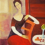 Still Life with Seated Woman painting for sale