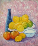 Still Life with Blue Vase, Apples and Lemons painting for sale