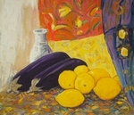 Still Life with Vase, Baigun & Lemons painting for sale