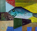 Composition with Fish painting for sale