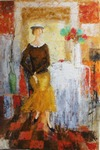 Lady and Flowers painting for sale