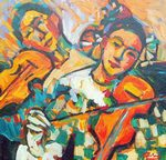 Los Violonistas painting for sale