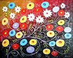 Beauty of Poppies and White Flowers painting for sale