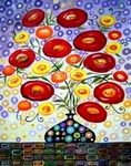 Dream Poppies and Black Vase-I painting for sale