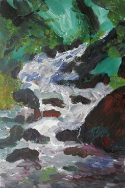 Waterfall In Kullu Valley, India-2 Painting