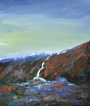 Waterfall In Kullu Valley, India-4 Painting