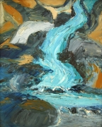 Waterfall With Boulders Painting