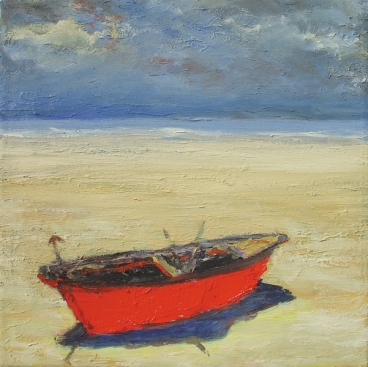 Red Boat At The Sea Shore Painting