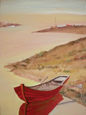 Red Boat And River Painting