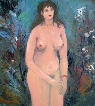 Nude (In Foliage - Flowers) Painting