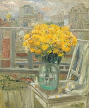 Yellow Chrysanthemums in Room 3