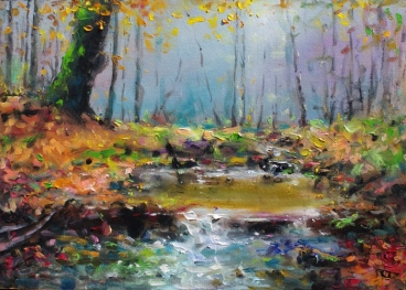 Lake In The Forest Painting