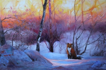 Fox In The Snow Painting