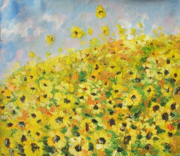 Sun Flowers In Summer Painting