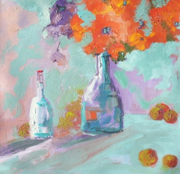 Still Life With 2 Bottles And Fruits Painting