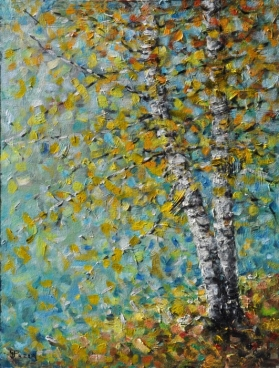 Birches On The Hill Painting