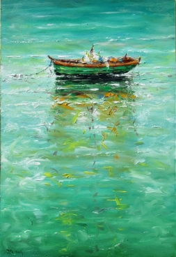 Boat on Aegean Painting
