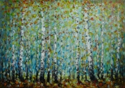 Morning In Birch Forest Painting