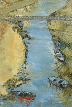 Bridge With Boats Painting