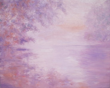 Early Morning Mist Over The Lake Painting