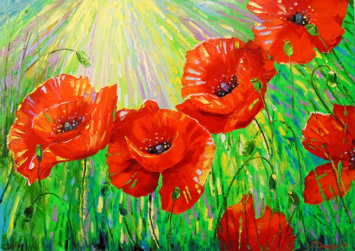 Poppies in the sunlight painting