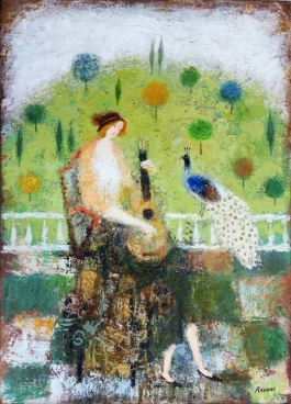 Musician And Peacock