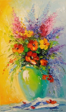 Bouquet Of Wildflowers In A Vase Painting