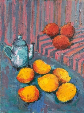 Still Life With Mangoes Pomegranate - Tea Pot Painting
