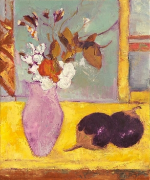Still Life With Flower Vase - Two Brinjals Painting