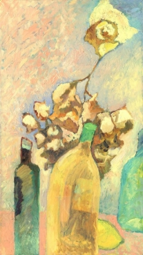 Dry Bouquet And Bottles Still Life Painting