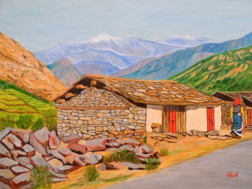 Hut In Mountains Painting