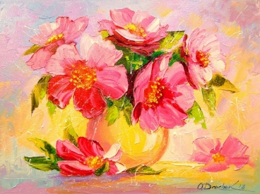 Still Life With Pink Flowers Painting