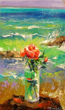 Roses And The Sea Painting