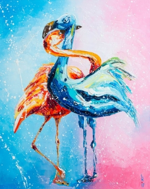 Flamingos In Love Painting