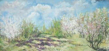 Blossoming Wild Cherry Trees-5 Painting