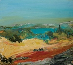 Red Road with Blue Pond painting for sale