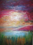 Red Sky Landscape painting for sale