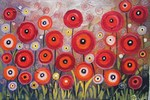 Dream Red Poppies Garden painting for sale